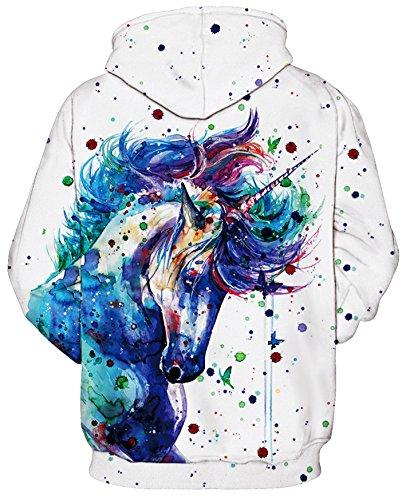 Pullover met Unicorn Amoma Fashion Hoodie Sweatshirt Color capuchon Hoodie Boys Printing Digital Tops qwH1BC