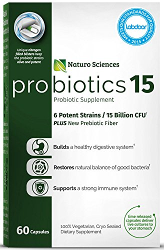Naturo Sciences Probiotics 15 Billion CFU, Advanced Probiotic Supplement, Time Released Capsules in Dry Nitrogen Filled Blister Packs, 60 Servings, 1 a Day - Super Complex Pure Carb