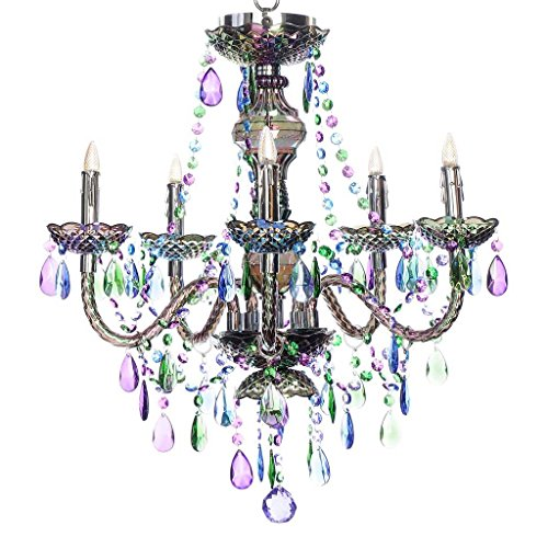River of Goods 14370S Wireless LED 5-Arm Chandelier with Remote, Peacock