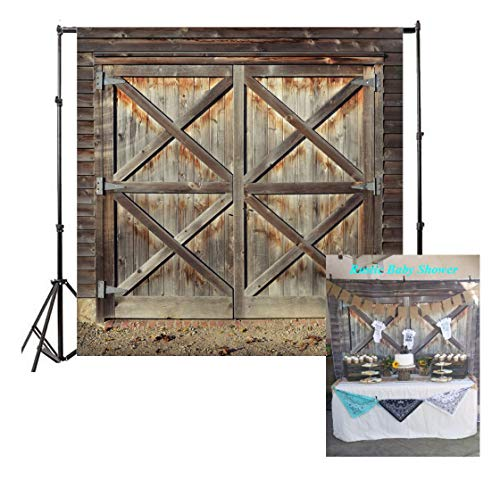 Leowefowa Vinyl Old Barn Door Backdrop 8X8FT Western Cowboy Rural Background for Photography Nostalgia Wood Plank Kids Adults Photo Studio Props (Photo Christmas Cards Cowboy)