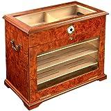 400 ct BURL WOOD CIGAR HUMIDOR CABINET END TABLE DISPLAY CASE