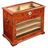 400 ct BURL WOOD CIGAR HUMIDOR CABINET END TABLE DISPLAY CASE