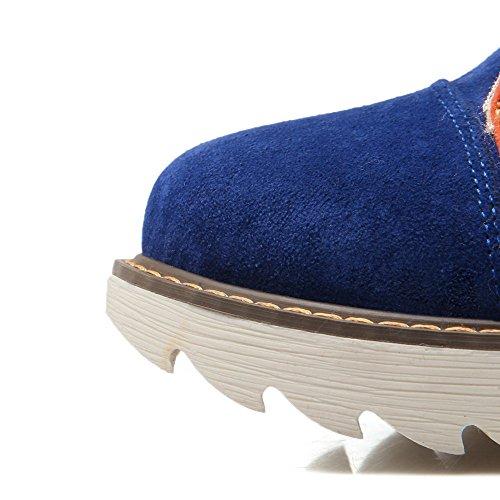 AllhqFashion Mujeres Cordones Puntera Redonda Mini Tacón Caña Baja Botas con Dos tonos Azul