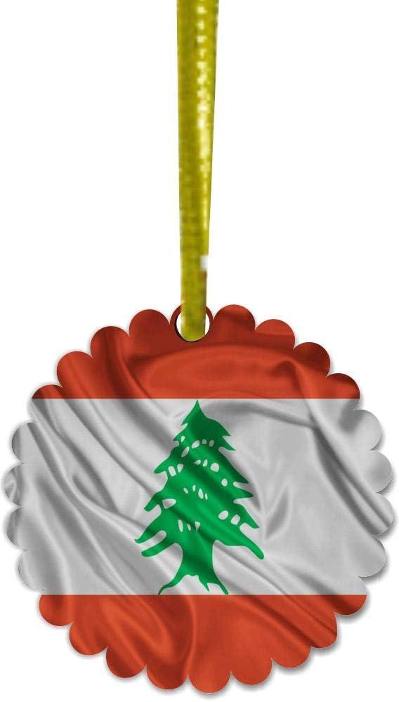 Snowflake Ornament Porcelain 3dRose ORN/_158355/_1 Flag of Lebanon Lebanese Red and White Stripes Green Cedar Tree Arabic Country Arab World 3-Inch