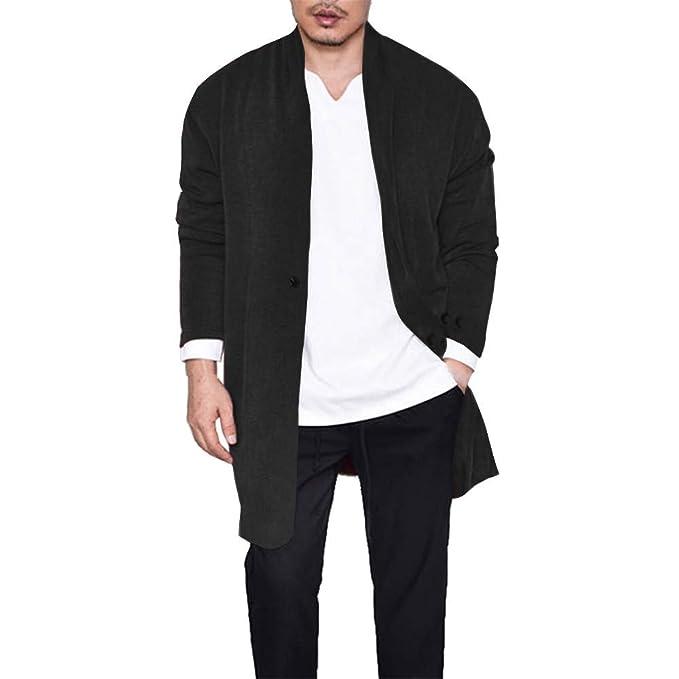 ZODOF Chaqueta Slim para Hombre Moda para Hombre Solid Trench Button Coat Jacket Cardigan Manga Larga Outwear Blusa: Amazon.es: Ropa y accesorios