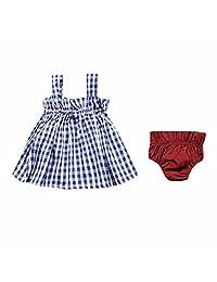 Summer 2Pcs Baby Girl Sleeveless Blue Plaid Dress set
