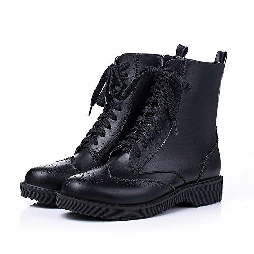Allhqfashion Women's Solid PU Low-Heels Zipper Round Closed Toe Boots Black i07LdpZP