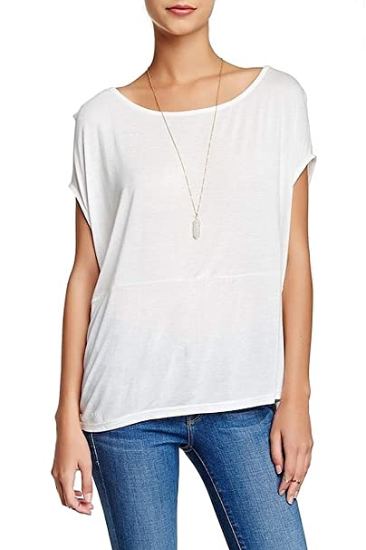 47b65b59449050 Women s Willow   Clay Ivory White Cap-Sleeve Blouse Tee Shirt T-Shirt Size  Small at Amazon Women s Clothing store