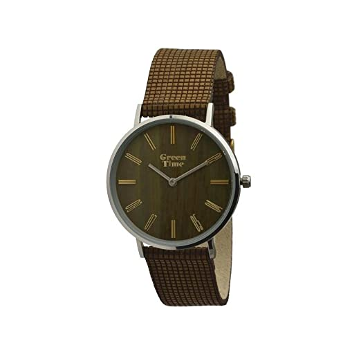 Green Time by ZZero Color reloj Vegan Unisex (acero y madera con correa Vegano Made in Italy, zw046 a. Tamaño Caja 36 mm aprox.: Amazon.es: Relojes