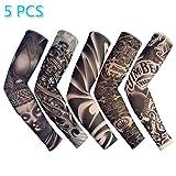 Enshey Tattoo Sleeves, Fake Tattoo Sun Arm Warmers UV Protection Sleeves for Man Women Set of 5
