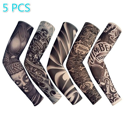 (Enshey Tattoo Sleeves, Fake Tattoo Sun Arm Warmers UV Protection Sleeves for Man Women Set of 5)