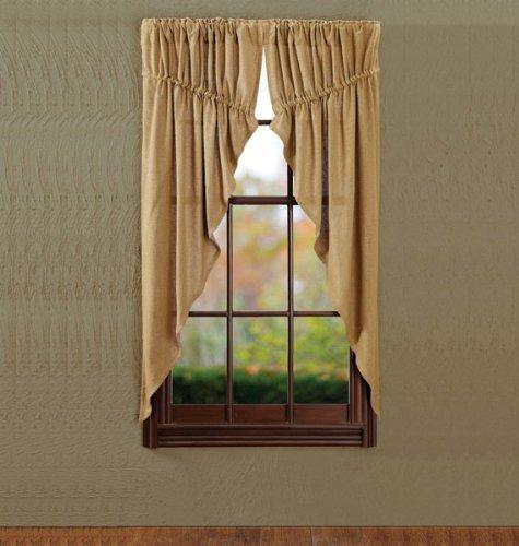 Burlap Natural Prairie Curtain Window Treatments (Set of 2, 63x36x18″ each) – For Living Room