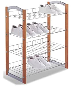 "Four Tier Shoe Rack (Chrome/Wood) (28.5"" H x 24.75"" W x 12"" D)"