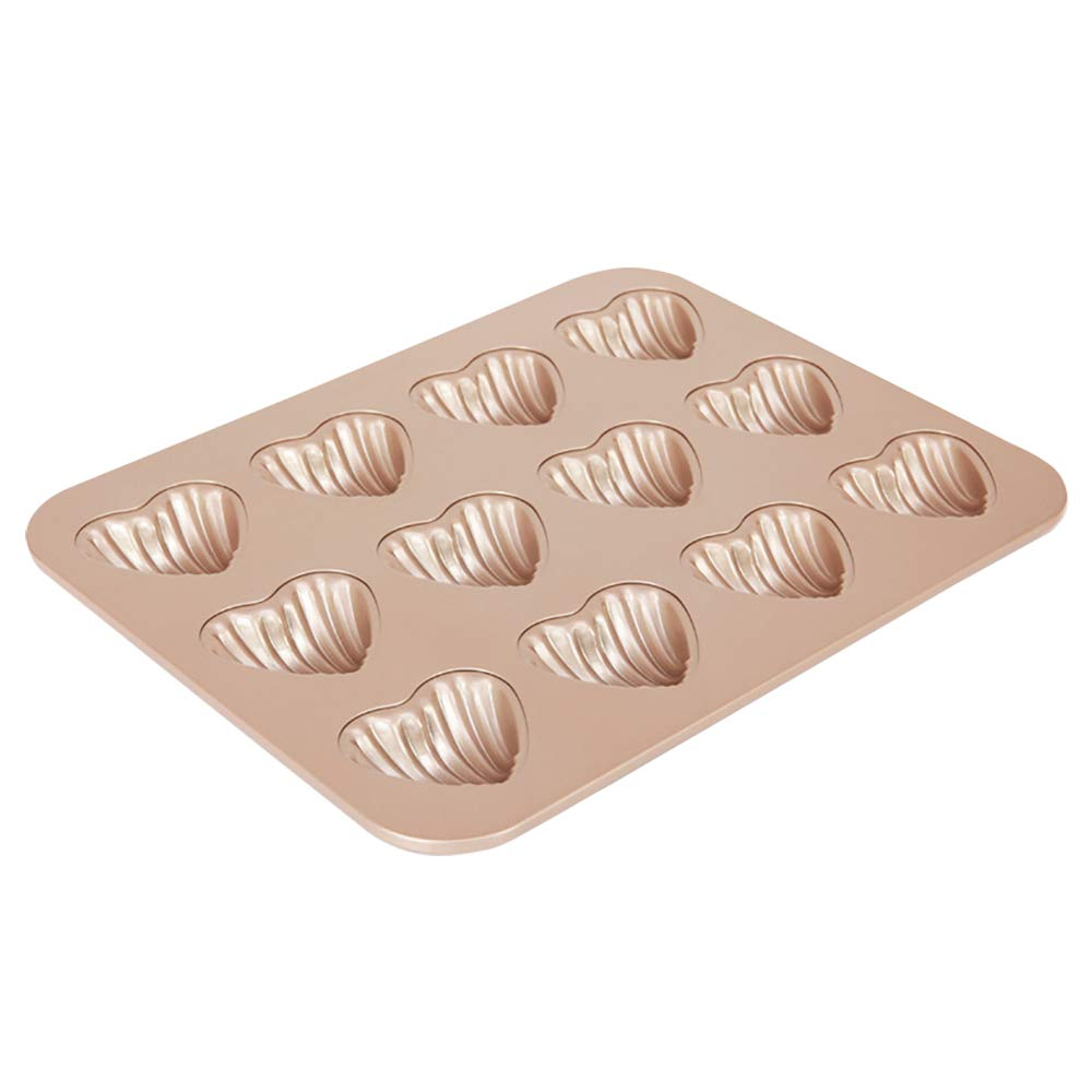 MyLifeUNIT Heart Shaped Madeleine Mold Pan, 12-Cavity Carbon Steel Madeleine Pan for Cake Cookie