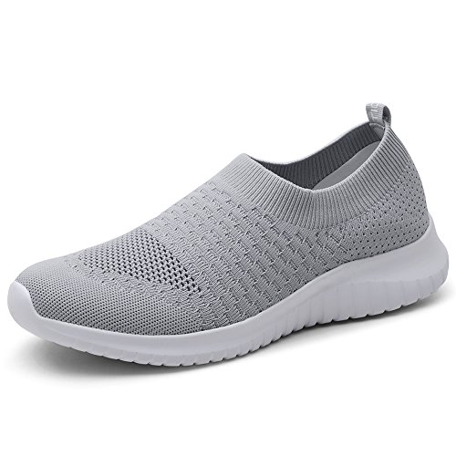 TIOSEBON Women's Walking Shoes Lightweight Breathable Flyknit Yoga Travel Sneakers 5 US Gray