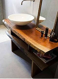 Mensola arredo bagno piano lavabo in legno massello 150x50x5: Amazon ...