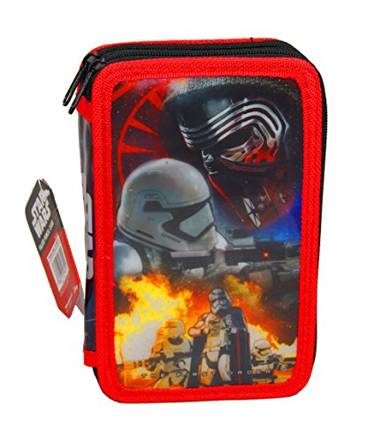 Filled Case (Star Wars,Filled Pencil Case,Perfect For Children 2 Layer Pencil Case(Navy&Red) (Red))