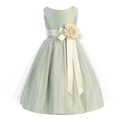 b7c0b7e8 Sweet Kids Big Girls Sage Ivory Floral Accent Junior Bridesmaid Dress 8