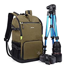 Large DSLR SLR Camera Backpack Camera Bag Multipurpose Hiking Daypack with Rain Cover Tripod Strap for Canon Nikon Sony Olympus Pentax (Army Green)