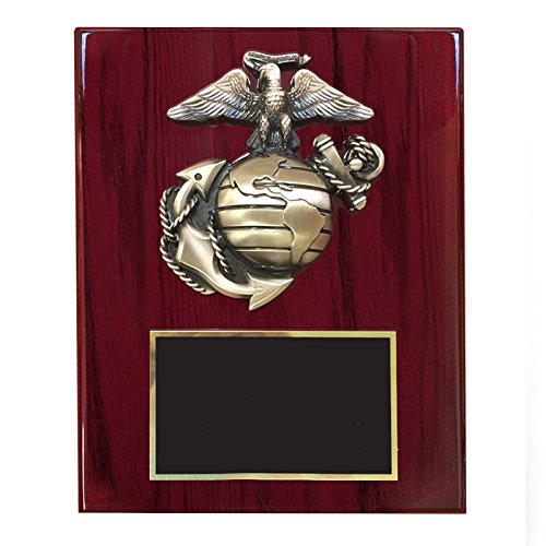 Customizable 8 x 10 Inch Cherry High Gloss Piano Finish Plaque with Brass U.S. Marine Emblem, includes Personalization