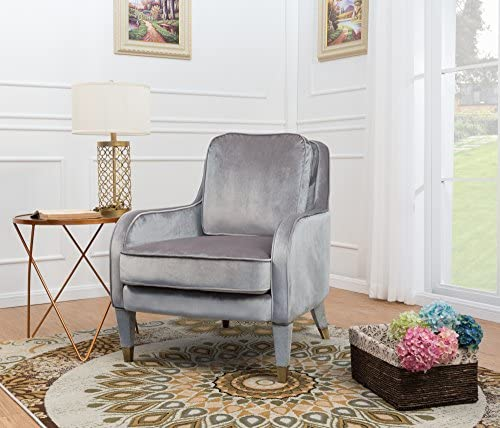 Iconic Home Tzivia Accent Club Chair Sleek Elegant Velvet Upholstered Plush Cushion Seat Metal Trim