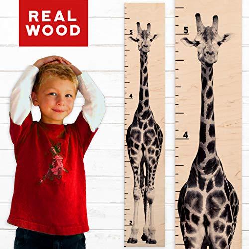 Growth Chart Art | Giraffe Growth Chart | Wooden Height Chart for Babies, Kids, Boys & Girls (Tall Giraffe) - Giraffe Growth Chart