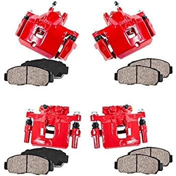 CCK01409 FRONT 4 Ceramic Brake Pads Kit REAR Performance Grade Loaded Powder Coated Red Calipers