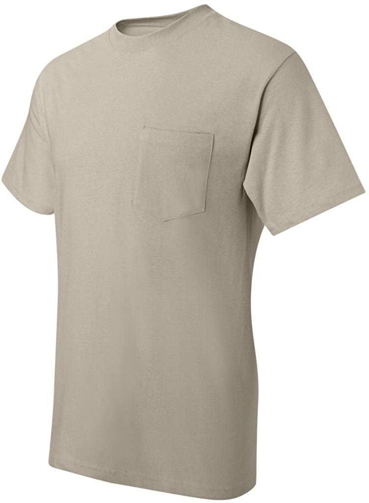 Sand Hanes 6.1 oz L 5190P Beefy-T with Pocket