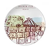 Chichen Itza Mexico Ancient Civilization Drawing Dessert Plate Decorative Porcelain 8 inch Dinner Home