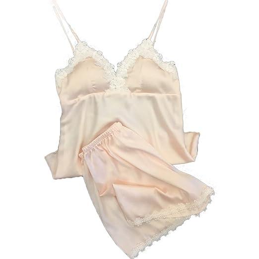 faf3bffc9f Women Sexy Babydoll Lingerie Sleepwear Satin Pajama Cami with Shorts 2  Piece Set (XS