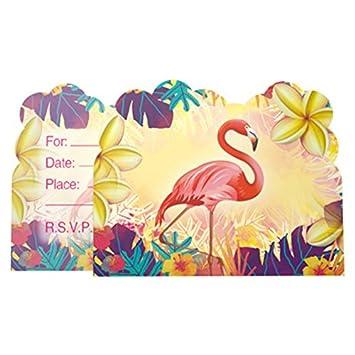 amazon com flamingo party invitations 24 fill in mermaid party
