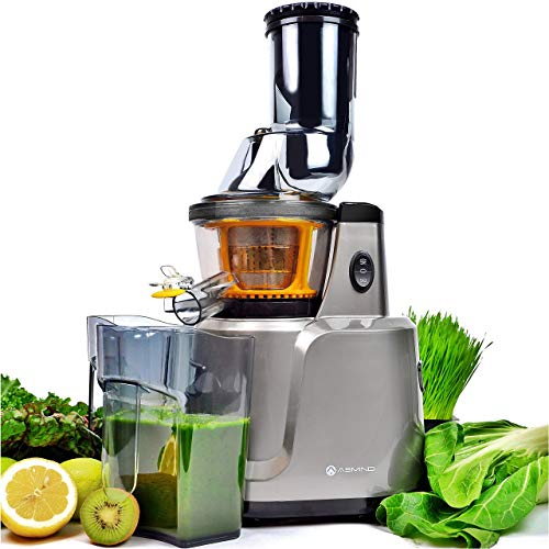 Juicer, Asmind Slow Masticating Juicer Extractor, Cold Press Low Speed Juicer with Brush to Clean Extract Healthy Nutrition from Fruits and Vegetables Low Noise Gift Choice