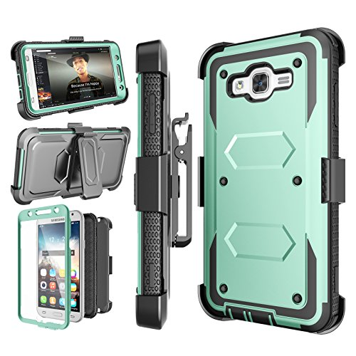 Njjex J7 2015 Case, For Galaxy J7 Belt Case, [Nbeck] Heavy Duty Built-in Screen Protector Rugged Holster Locking Belt Clip Case Cover Shell & Kickstand For Samsung Galaxy J7 2015 -