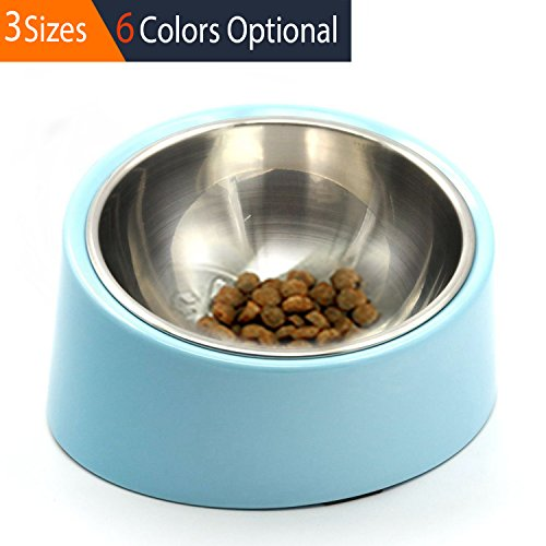 Free Small Pet Bowl (Super Design Mess Free 15 Degree Slanted Bowl for Dogs and Cats 0.5 Cup Light Blue)