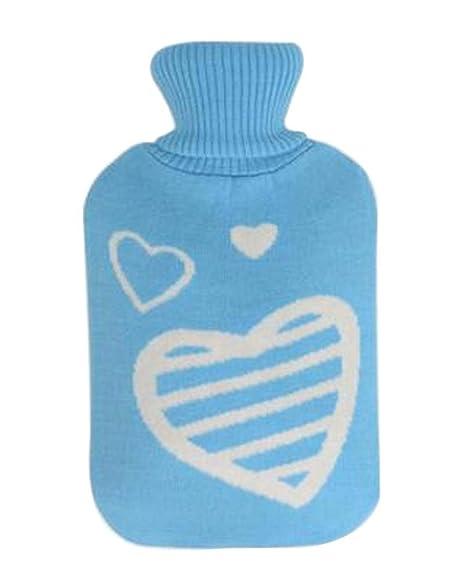 Botella de agua caliente clásica con funda Bolsa de agua caliente Corazón  azul 00e3cf49931