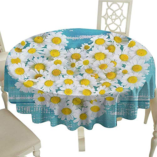 Permalux Blue Tablecloths - longbuyer Round Tablecloth Plastic Yellow and Blue,Heart Shaped Daisy Flowers Romantic Love Valentines Chamomile Blossoms,Sky Blue White, D50,for Cards