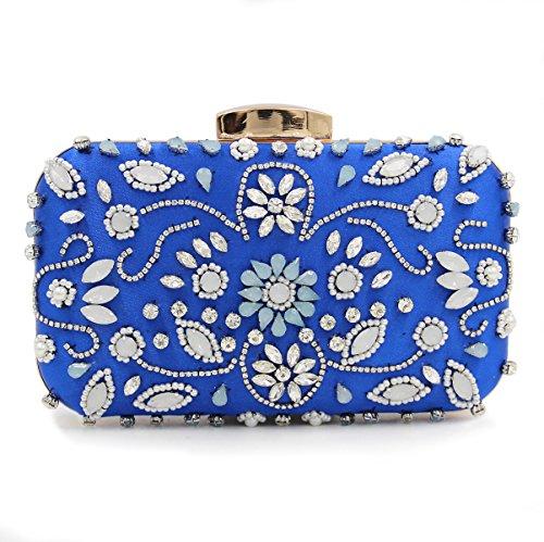 Señora Embragues Noche Bolsas de Hombro Metal Rosa Flores talladas de lujo Cena colorida tarde bordado bolso de cadena Blue-A