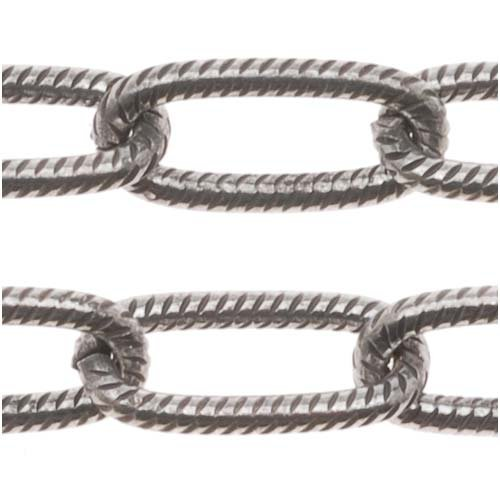 Antiqued Silver Plated Textured Link Cable Chain 5mm x 11mm Bulk By The Foot (11mm Cable Link Chain)