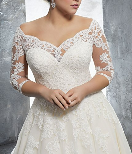 WuliDress Women's Plus Size Bridal Ball Gowns Lace Wedding Dresses with 3/4 Sleeves Ivory 20W by WuliDress (Image #2)