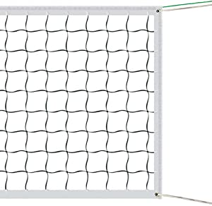 Portable Outdoor Volleyball Net for Beach Garden Schoolyard Backyard Standard Size (32 FT x 3 FT) Training Equipment with Steel Cable Rope (No Poles)