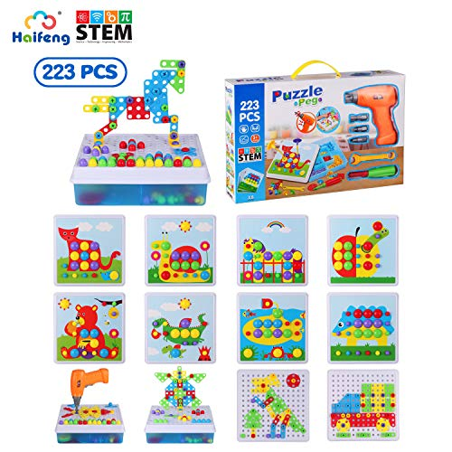 223 Piece Electric Drill Mosaic Puzzles ,STEM Toys,Drill & Screw Driver Tool set,Educational Building Blocks Learning Set Best Kids Toys for Boys & Girls Age 3-14 Year Olds,Develop Fine Motor Skills