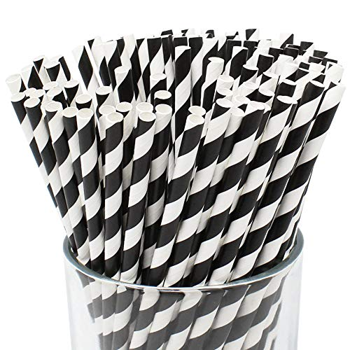 Just Artifacts 100pcs Premium Biodegradable Striped Paper Straws (Striped, Black)]()