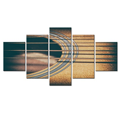 (Sea Charm - Multi Panel Canvas Wall Art The Picture of Close-up Acoustic Bass Strings and Sound Hole Giclee Print Artwork with Frame for Home Decor,Vintage Music Wall)