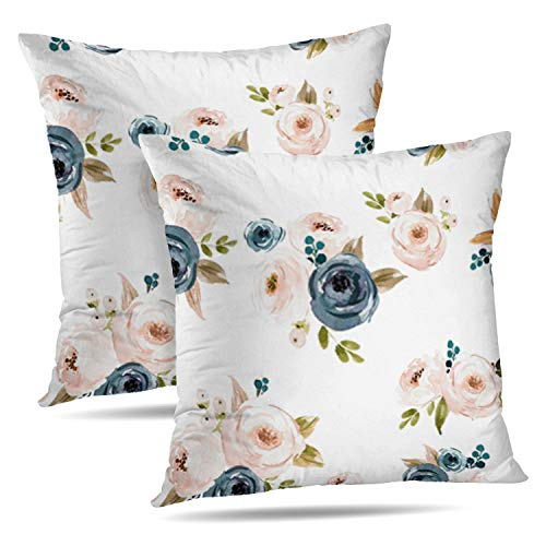Cover Pillow Floral - Darkchocl Set of 2 Daily Decoration Throw Pillow Covers Blush Blue Floral Square Pillowcase Cushion for Couch Sofa or Bed Modern Quality Design Cotton and Polyester 18