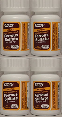 Ferrous Sulfate FC 325mg (5GR) Generic for Feosol Red Tablets 100 Tablets per Bottle 4 PACK Total 400 tablets by RUGBY LABORATORIES ()