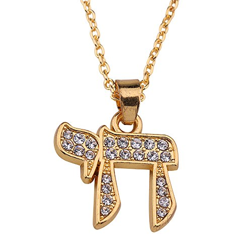 Wicca Religious Crystal Enameled 3dRose Chai Hebrew Word for Life Hai Jewish Symbol Pendant Necklace (Gold)