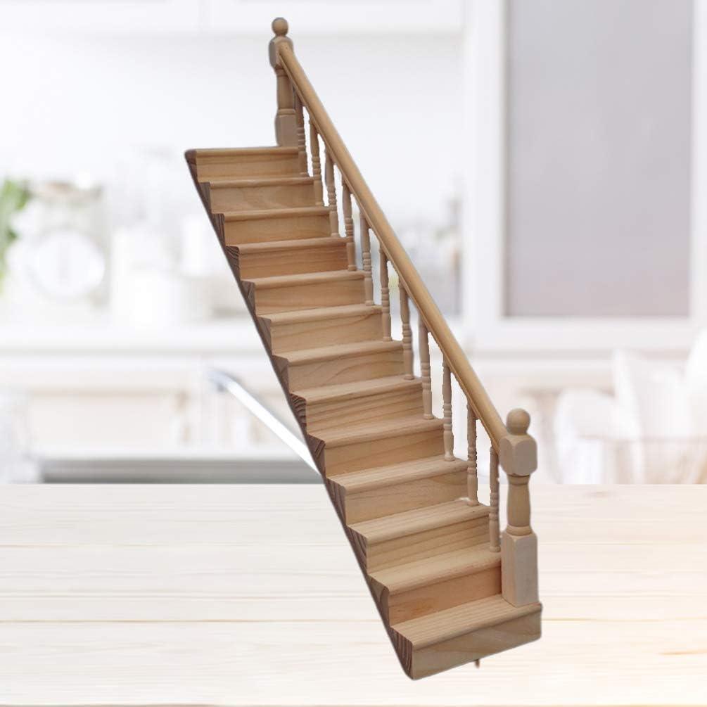 NUOBESTY 1:12 casa de muñecas Escalera de Madera con pasamanos Derecho preensamblado Pendiente de 45 Grados para Mesa de Escritorio en casa: Amazon.es: Deportes y aire libre