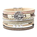 Tree of Life Wrap Boho Leather Wide Cuff Handmade Wristbands Braided Magnetic Buckle Bangle Bracelet Gift for Women Girl (Tree beige)
