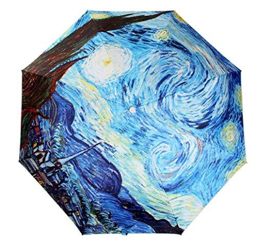 Get Orange Oil Painting 3 Folding Parasol Sun Protection Anti-uv Travel Umbrella (Starry Night 1)