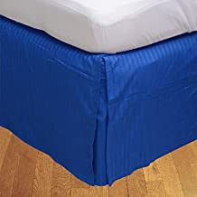 Relaxare Twin XL 500TC 100% Egyptian Cotton Royal Blue Stripe 1PCs Box Pleated Bedskirt Stripe (Drop Length: 13 inches) - Ultra Soft Breathable Premium Fabric